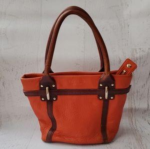 Kate Spade Orange and Brown Leather Bucket Handbag